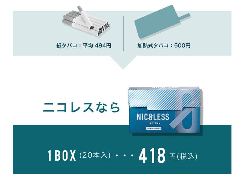 ニコレスとタバコの価格比較